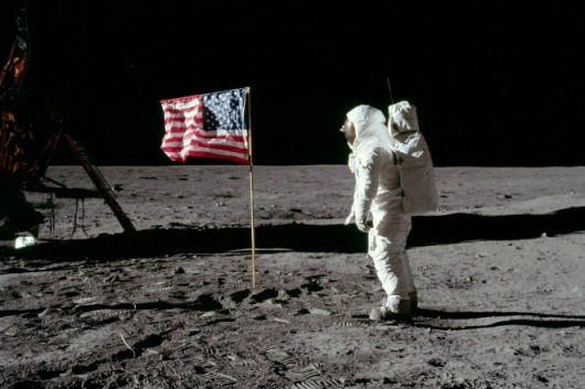 The Way to the Future Through Collaboration: Tinkering With the Bounds of What's Possible: Buzz Aldrin salutes Old Glory on the moon. Image: NASA/APOLLO 11