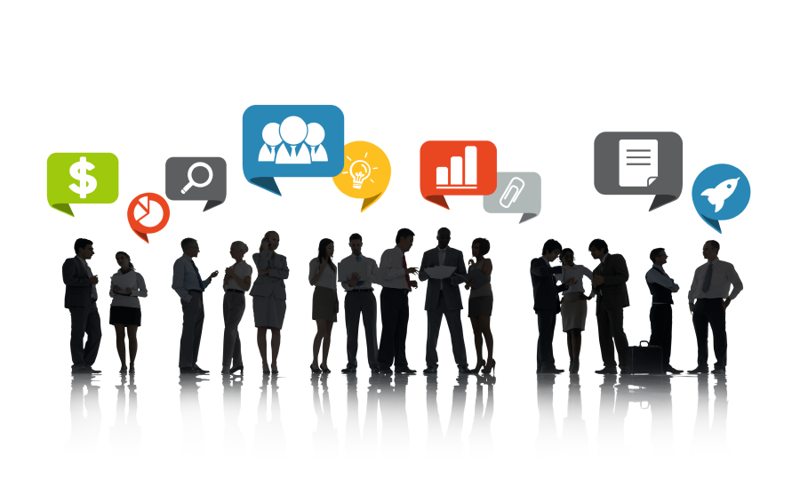 Group of Business People Talking and Business Related Symbols Ab
