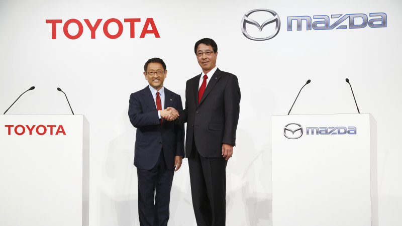 "Toyota and Mazda are teaming for a noble purpose: to ""make cars better."" That's how the two Japanese automakers termed their partnership, which was announced this week. Source: http://www.autoblog.com/2015/05/16/weekly-recap-toyota-mazda-volvo-ford-top-gear/"