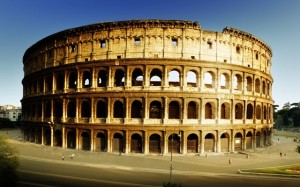 The Colosseum was built in ancient Rome, it was the largest amphitheater of its time.